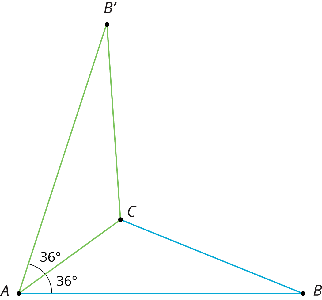 Triangle A, B, C, with angle with measure 36 degrees at A. It has been reflected on the side A, C.